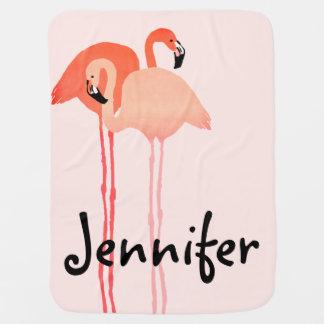 Pink Flamingos Beach Wedding Swaddle Blankets