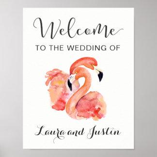 Pink Flamingos Beach Wedding Welcome Poster