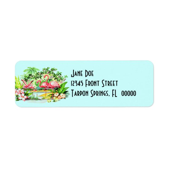 Pink Flamingos Birds Vintage Style Address Labels