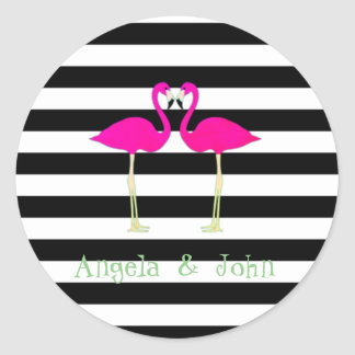 Pink Flamingos ,Black White Stripes,Personalized Classic Round Sticker