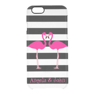 Pink Flamingos, Black, White Stripes Personalized Clear iPhone 6/6S Case