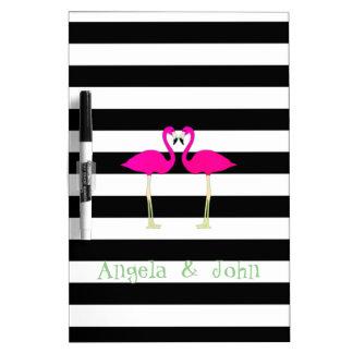 Pink Flamingos ,Black White Stripes,Personalized Dry-Erase Boards