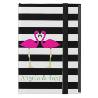 Pink Flamingos ,Black White Stripes,Personalized iPad Mini Case