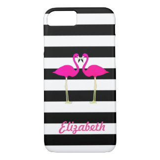 Pink Flamingos, Black, White Stripes Personalized iPhone 8/7 Case