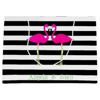 Pink Flamingos ,Black White Stripes,Personalized Large Gift Bag