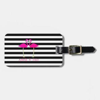 Pink Flamingos, Black, White Stripes Personalized Luggage Tag
