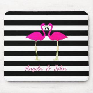 Pink Flamingos, Black, White Stripes Personalized Mouse Pad