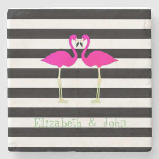 Pink Flamingos ,Black White Stripes,Personalized Stone Coaster