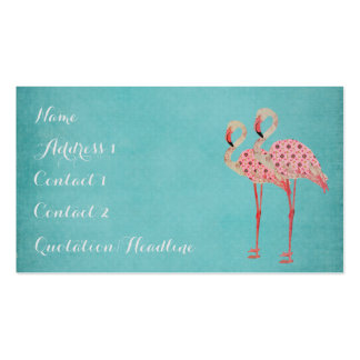 Pink Flamingos Blue Business Card