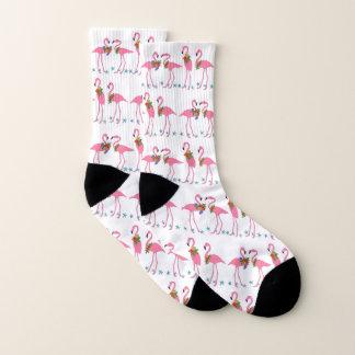 Pink Flamingos Blue Starfish Pattern Socks 1