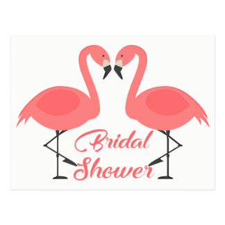 Pink Flamingos  Bridal Shower Tropical Summer Luau Postcard