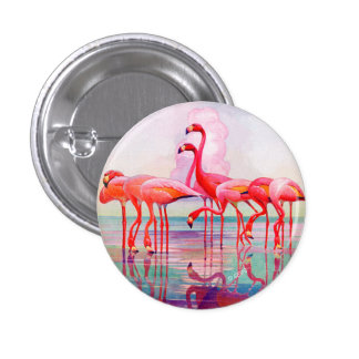 Pink Flamingos by Francis Lee Jaques 1 Inch Round Button