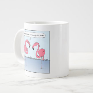 Pink Flamingos Cartoon - Goofy Humor Large Coffee Mug