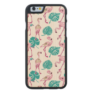 Pink Flamingos Carved® Maple iPhone 6 Case