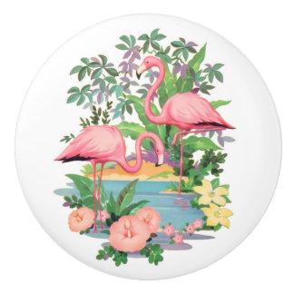 Pink Flamingos Ceramic Drawer or Cabinet Knob