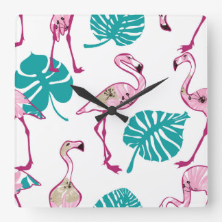 Pink Flamingos Clocks