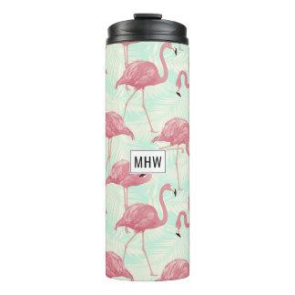Pink Flamingos custom monogram tumbler