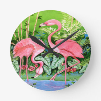 Pink Flamingos Design Round Clock