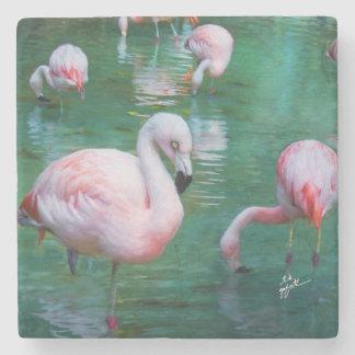 Pink Flamingos Fine Art Stone Coaster