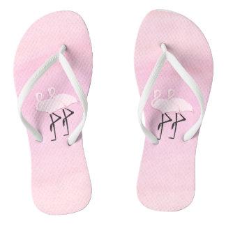 Pink Flamingos Flip Flops