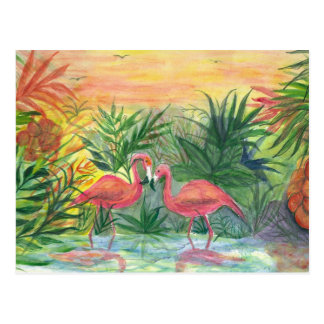 Pink Flamingos Florida Art Postcard