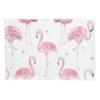 Pink Flamingos Grey Polka Dots Chic Minimal Custom Pillowcase
