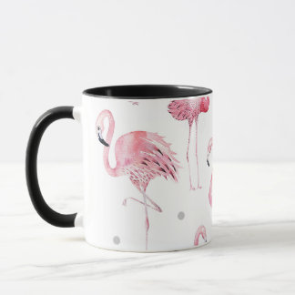 Pink Flamingos Grey Polka Dots Chic Pattern Mug