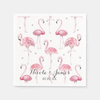 Pink Flamingos Grey Polka Dots Chic Pattern Party Paper Napkin