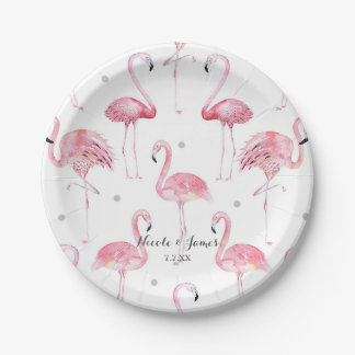 Pink Flamingos Grey Polka Dots Chic Pattern Party Paper Plate