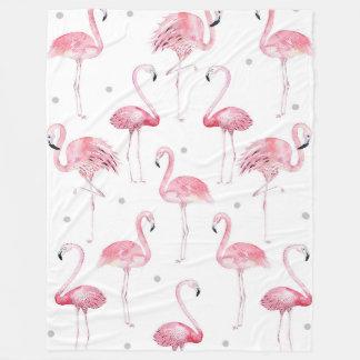 Pink Flamingos Grey Polka Dots Pattern Fleece Blanket
