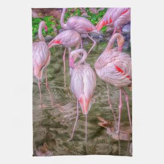 Pink Flamingos Hand Towel