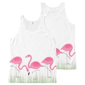 Pink Flamingos In Green Grass All-Over-Print Tank Top
