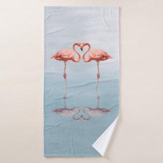 Pink Flamingos in Love Bath Towel
