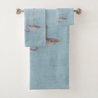 Pink Flamingos in Love Bathroom Towel Set