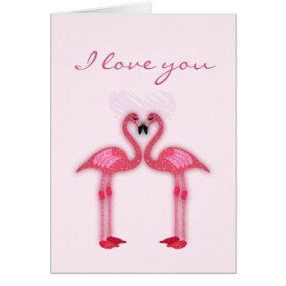 pink flamingos in love papershop card