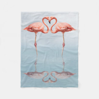 Pink Flamingos in Love Small Fleece Blanket