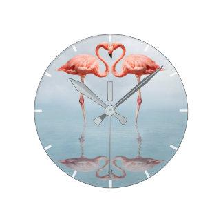 Pink Flamingos in Love Wall Clock
