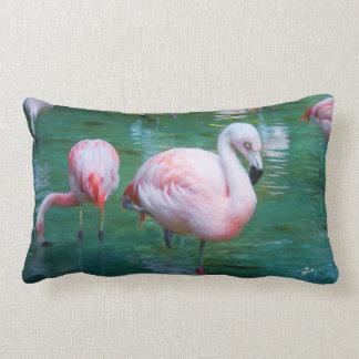Pink Flamingos Lumbar Pillow