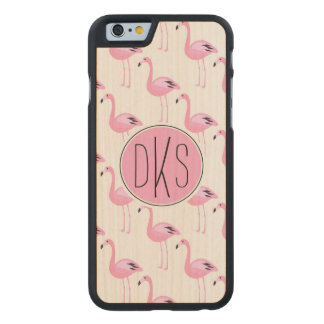Pink Flamingos | Monogram Carved® Maple iPhone 6 Case