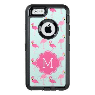 Pink Flamingos Monogrammed OtterBox Defender iPhone Case