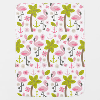 Pink Flamingos + Palm Trees Baby Blanket