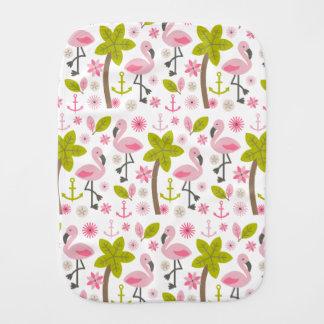 Pink Flamingos + Palm Trees Burp Cloth