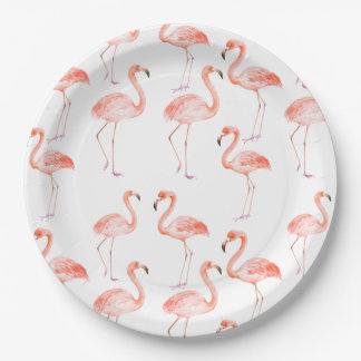 Pink Flamingos Paper Plate