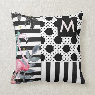 Pink Flamingos Polka Dots Black & White Fun Throw Pillow