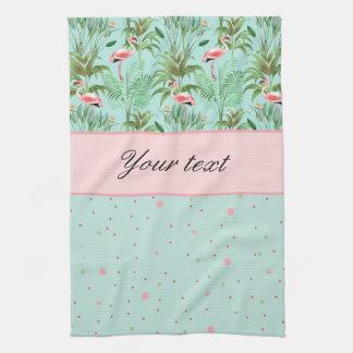Pink Flamingos Polka Dots Hand Towels