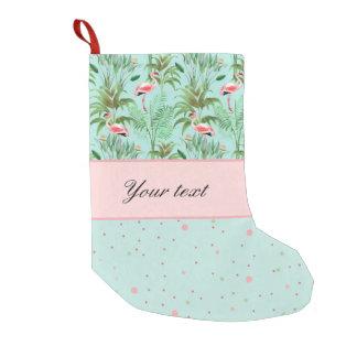 Pink Flamingos Polka Dots Small Christmas Stocking