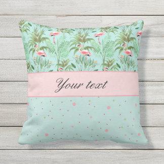 Pink Flamingos Polka Dots Throw Pillow