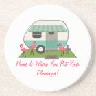 Pink Flamingos & Retro Camper Coaster