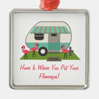 Pink Flamingos & Retro Camper / Trailer Ornament