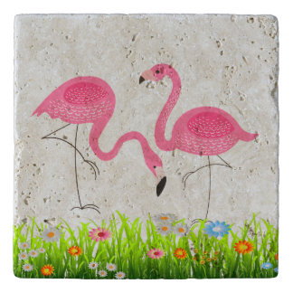 Pink Flamingos Spring Flowers Illustration Trivet